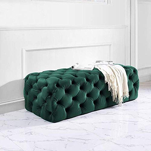 HLL Stools,Modern, Button-Tufted Footrest Sturdy Construction Upholstered Seat Coffee Side Table Vanity Dressing Chair Shoe,Green,60x45x40cm
