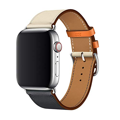XCool für Apple Watch Armband 38mm 40mm, Leder Blau Orange Armbänder für iwatch Series 4 Series 3 Series 2 Series 1 Hermes