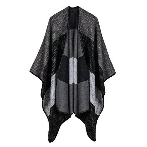THTHT Sjaal mode mantel dames sjaal verdikking Rainbow brede strepen dubbele doel jacquard warm en lange herfst en winter dual use classic zwart