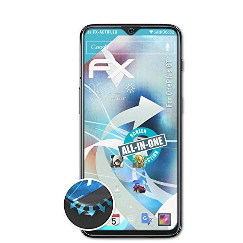 atFolix Schutzfolie kompatibel mit OnePlus 6T Folie, ultraklare und Flexible FX Displayschutzfolie (3X)