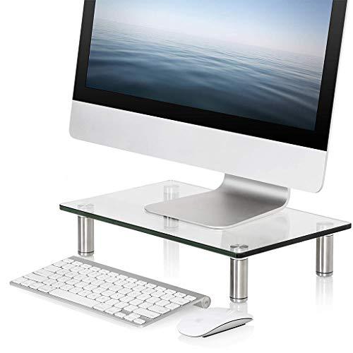Monitor de computadora Soporte de monitor de cristal ajustable, de cristal templado con soporte de acero inoxidable, soporte de elevador de monitor transparente para escritorio ( Size : 70cm )
