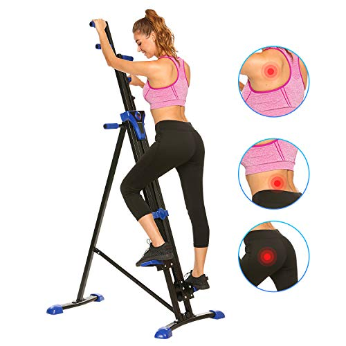 ANCHEER Vertical Climber, Foldable Versa Climbing Exercise Machine, Cardio Workout Machine Stair Stepper,Compact Stair Climber for Home Gym Fitness, Adjustable Height with LCD Display