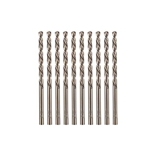 "amoolo 1/8"" inch Cobalt Drill Bits(10Pcs), M35 HSS Metal Jobber Length Twist Drill Bit Set for Hard Metal, Stainless Steel"