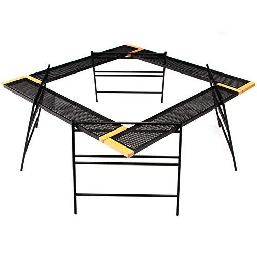Ms.RAJA焚火台テーブルセット収納ケース付き耐火変形自在テーブルプレートアイアンレッグ焚き火テーブルアウトドアキャンプ用品グッズ30日保証付き(ブラック)
