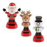Homyl 3 Stück Weihnachten Wackelfigur Wackel Solar Figur Tanzende Solarwackelfigur Kinder Spielzeug