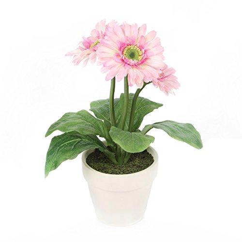 Closer 2 Nature Artificial Flower, Künstliche Gerbera Pflanze im Deko Tontopf, 32 cm, rosa