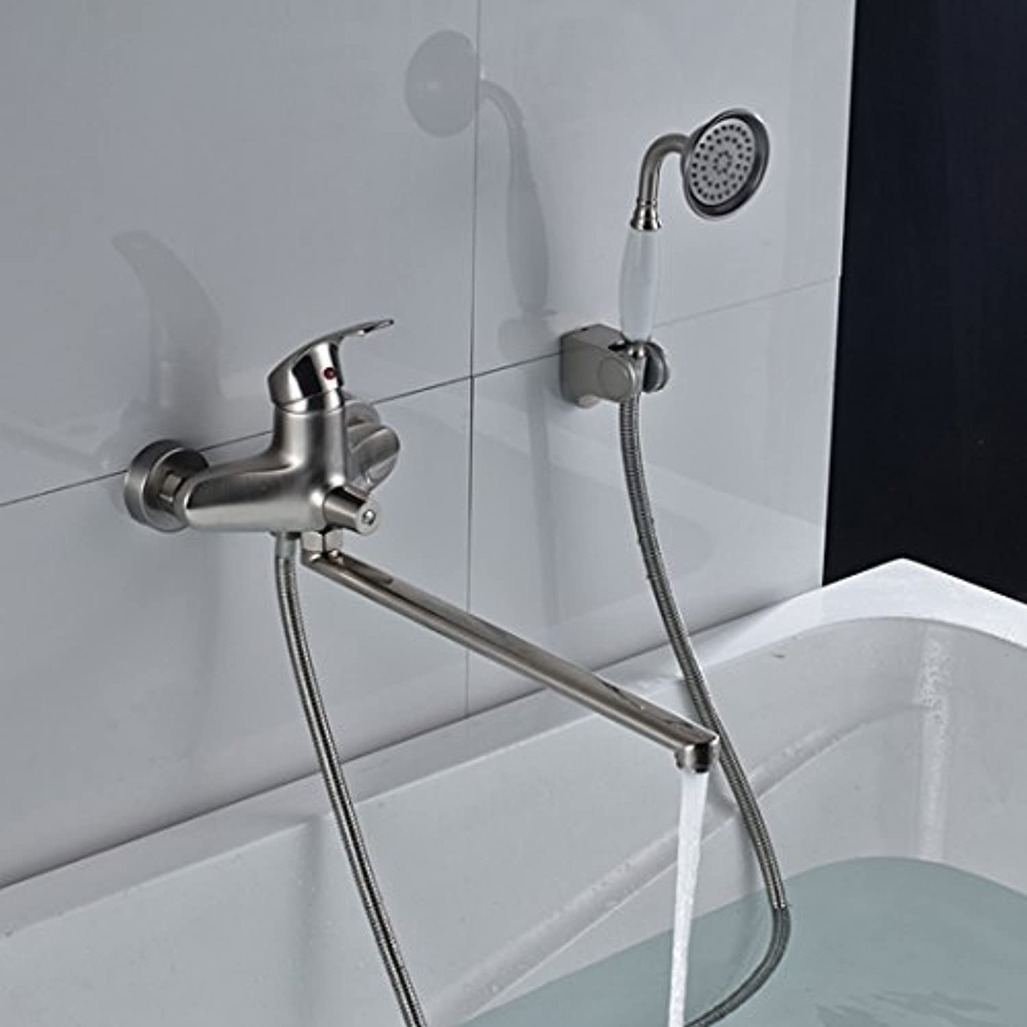Better Quality Long spout Outlet Faucet Glass to The Wall Assembled at Longnose Glass with Hand Shower & Bearer, C
