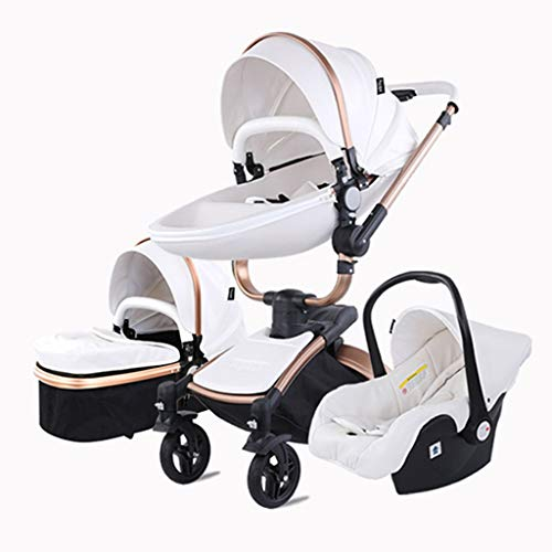 Egg Baby Stroller, 360° Rotation Function Baby Carriage ,Pu Leather High Landscape Pushchair with Adjustable Seat Height Angle,Four-Wheel Shock Absorption (Color : White, Size : 3 in 1)