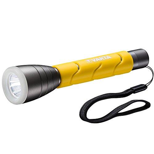 VARTA LED Outdoor Sports Taschenlampe F20 (5 Watt, inkl. 2x Longlife Power AA Batterien Flashlight Taschen-leuchte Lampe, IPX4 spritzwassergeschütztes Gehäuse)