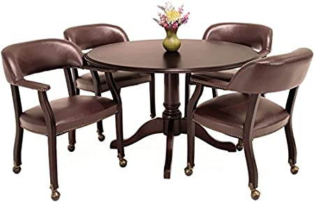 Amazon Com Traditional Round Conference Table And Chairs Set Conference Meeting Office Room Mahogany Finish 42 With 4 Chairs Black Upholstery Kitchen Dining