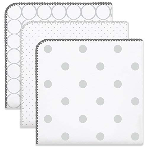 SwaddleDesigns Ultimate Winter Swaddles, Set of 3, X-Large Receiving Blankets, Made in USA Premium Cotton Flannel, Mod Circles and Dots, Sterling (Mom's Choice Award Winner)