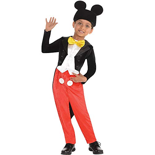 Costumes USA Mickey Mouse Halloween Costume for Boys, Classic Disney, Small (4-6), Includes Jumpsuit and Hat with Ears