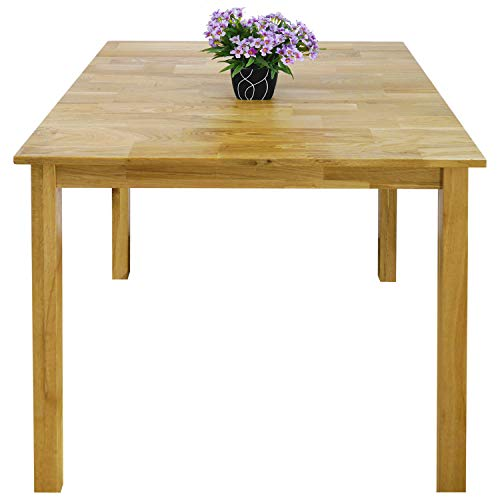 Rongyuan Dining Table Living Room Small Side Table Solid Wood Natural Oak Minimalist Retro Design Square, 75 x 75 x 75 cm