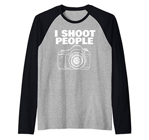I shoot people funny photographer I shoot people Camiseta Manga Raglan