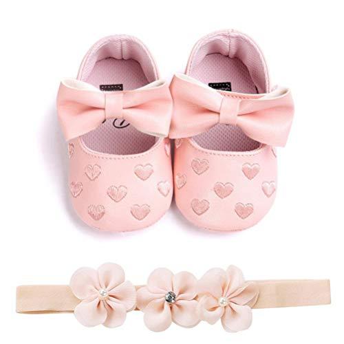 Zapatos de Niña con Diadema Regalo Set Bautizo Lovely Algodón Flor Suave Suela Zapatillas Antideslizantes Zapatos de Princesa (0-6 Meses, A - Rosa)