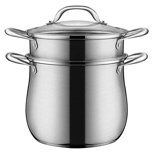 Pote de vapor, maceta de acero inoxidable Juego de ollas de cocción Vaporización de vapor de vaporización de vapor de vapor de vapor de vapor, con asas en ambos lados, bandeja de cocina de inducción,