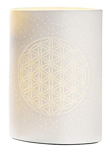 GILDE Lampe Lebensblume - aus Porzellan mit Lochmuster im Prickellook H 26 cm