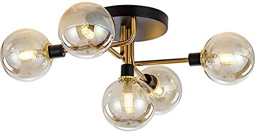 Modo Lighting 5 luces Montaje semi empotrado lámpara de techo Metal vintage Níquel cepillado Sputnik Lámpara de araña Industrial luces de techo para sala de estar Cocina Pasillo Restaurante