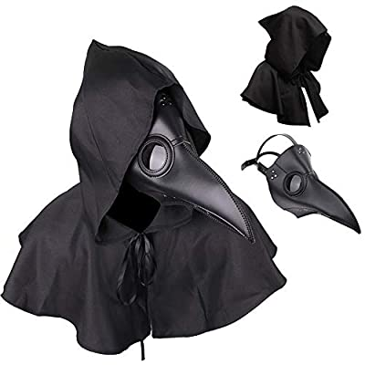 Plague Doctor Mask and Cloak Long Nose Beak Halloween Costume Props Leather Masks for Adult from