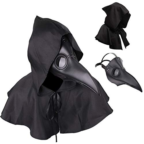Plague Doctor Mask and Cloak Long Nose Beak Halloween Costume Props Leather Masks for Adult