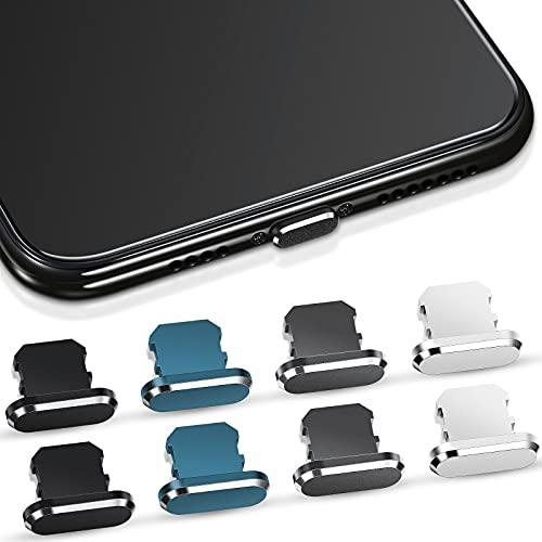 Frienda 8 Tapones Antipolvo Compatible con iPhone 11/12, Cubierta Protege Carga Tapones de Puerto de Carga Compatible con iPhone 11, 12, Pro, MAX/X/XS/XR, 7, 8 Plus, iPad Mini/Air (4 Colores)