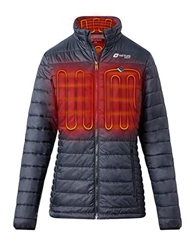 Venture Heat Women's Heated Jacket with Battery Pack - 13 Watt High Powered Electric Insulated Puffer, Traverse (L, Black)
