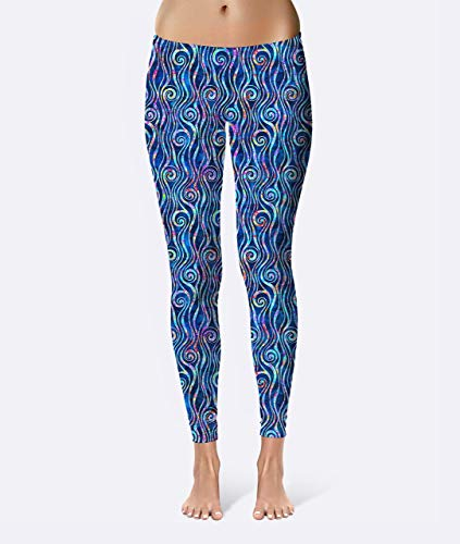 Batik Ocean Swirls Premium Women's High Waist Leggings featuring original design by Artist Dan Morris