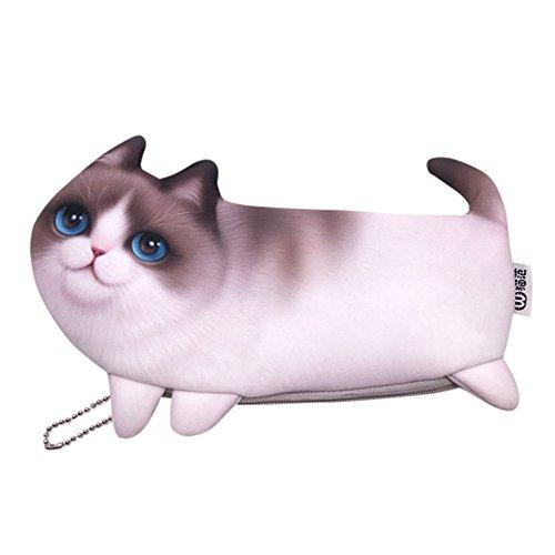 Gaddrt Multi-Funktions 3D Tier niedlichen Katze Gesicht Reißverschluss Fall Münze Frauen Mädchen Geldbörse Geldbörse Stift großer Speicher Mäppchen Tasche D