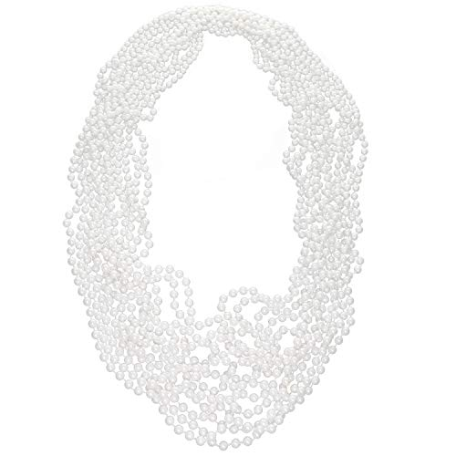 GIFTEXPRESSⓇ 12 PCS White Pearl Bead Necklaces Flapper Beads Party Accessory Party Favor