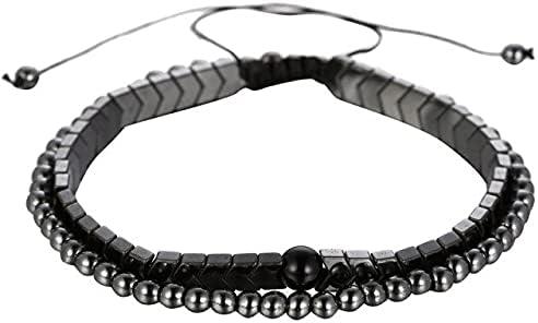 TranTran NTP Women Men 3Pcs/Sets Adjustable Bracelet Braided Natural Hematite Stone Geometry Bead Bracelet Bangles Sets Pulseira Masculina