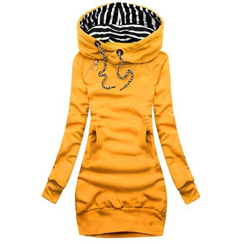 Loozykit Damen Kapuzenpullover Oversize Kleid Lang Sweatshirt Hoodie Langarmshirt Casual Kapuzenpulli Tops Tunika Oberteil Herbst Winter (Gelb,2XL)