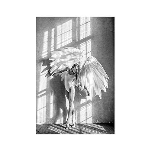 Muurstickers voor kunstwerken, verschillende stijlen voor wanddecoratie voor slaapkamer, cadeau-idee zonder lijst, kleur wit en zwart engelenvleugels meisjes decoratie decoratie voor thuis hangen foto 40*60cm