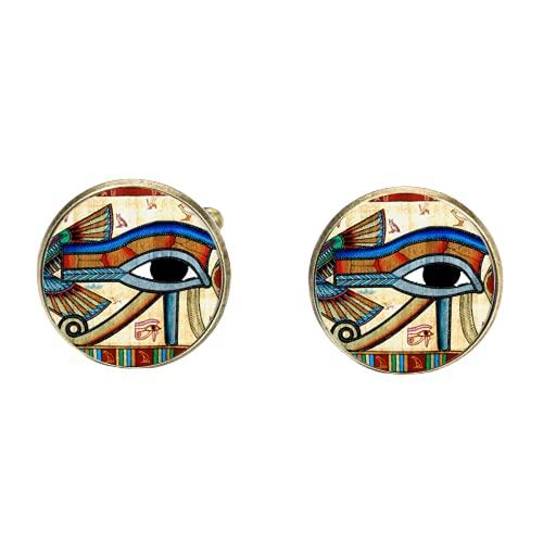 Gemelos con diseño de ojo de Horus de Egipto antiguo chapado en bronce con diseño de dioses Power Eye Art Print de cristal Cabujón camisa puños botón amuleto regalo
