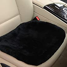 OGLAND 19 Inch Luxurious Authentic Australia Sheepskin Car Seat Cover for Auto Interior Accessories with Soft Fluffy Wool Eco-Friendly Natural Fur Non-Slip (Front, Black)