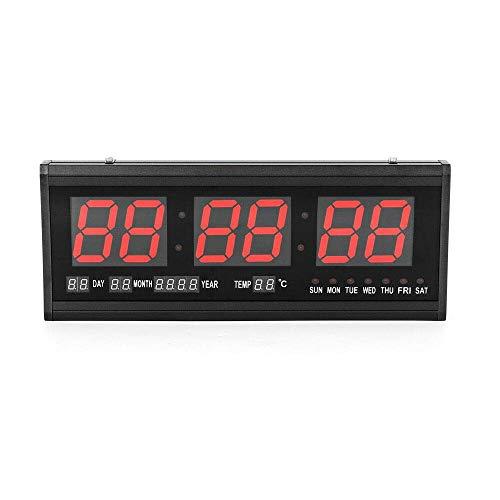 DiLiBee LED wanduhr Digitaluhr Digital LED Wanduhr 24Hr Uhr Digitaluhr-Beleuchtung im Rot mit Datum-Temperatur-Wohnzimmer Küchuhr (rot)