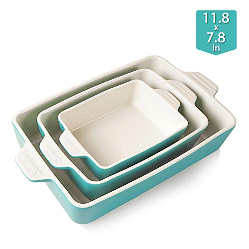 Sweejar Ceramic Bakeware Set Rectangular Baking Dish Lasagna Pans for Cooking Kitchen Cake Dinner Banquet and Daily Use 118 x 78 x 275 Inches of Baking PansTurquoise