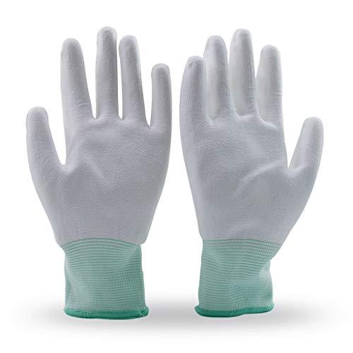 Labor handschoenen PU Palm lijm handschoenen 10 paar antislip slijtvaste bescherming Factory Workshop Gray Edge (L)