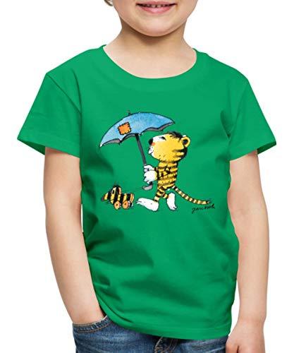 Janosch Kleiner Tiger Tigerente Mit Schirm Kinder Premium T-Shirt, 98-104, Kelly Green