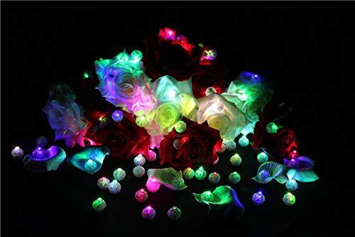 100 Stück LED RGB Bunte Lampen Luftballons Laterne Lichter Party Teelicht Deko, Farbe:Blau