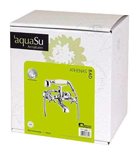 AquaSu – Badewannenarmatur, Zweigriffmischer Athenas inklusive Brausegarnitur, Chrom - 7