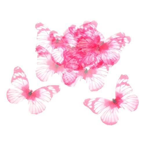 joyMerit 10 Chiffon Butterfly Flatback Charm Embellishment DIY Earring Jewelry Making - Pink