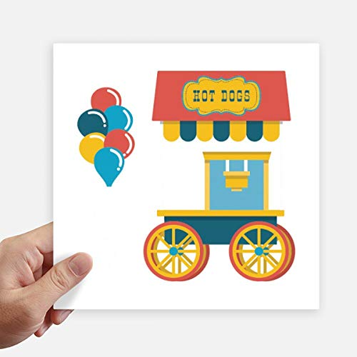 DIYthinker Incroyable Funny Park Hot Dog Illustration Autocollant carré de 20 cm Mur Valise pour Ordinateur Portable Motobike Decal 4Pcs 20cm x 20cm Multicolor