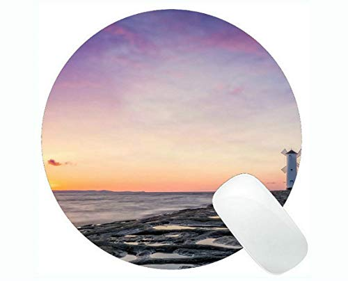 Yanteng Round Mouse Pads,Lighthouse Sea Cliffs Water Away Road Gaming Mouse Pads