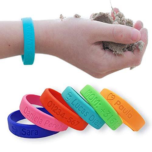 Pulsera personalizada SOS para niños de silicona - Bienpegado, ideal para salidas y paseos. utilizarlas en varios tamaños y paseos. Resistente al agua y duradera (Azul marino).