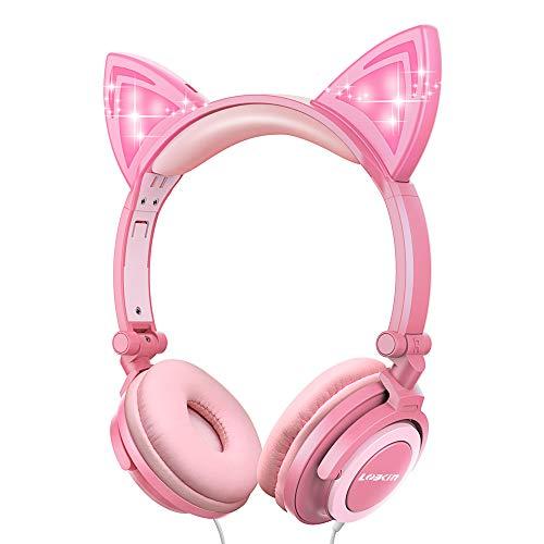 LOBKIN Kinder-Ohrhörer, faltbar, für Mädchen und Mädchen, Einhorn Kopfhörer für Cosplay,Over Kopfhörer Kopfhörer mit MP3-Player violett