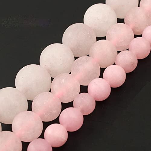 NHFVIRE Cuentas de Cuarzo Rosa Pulido Mate Mate Natural Cuentas de Piedra de Jade Rosa para Hacer Joyas Accesorios de Pulsera DIY 6mm 61pcs