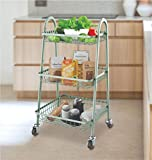 Magna Homewares Carrello Smart 3-Tire Metal Rolling Cart On Wheels with Baskets,Utility Trolley