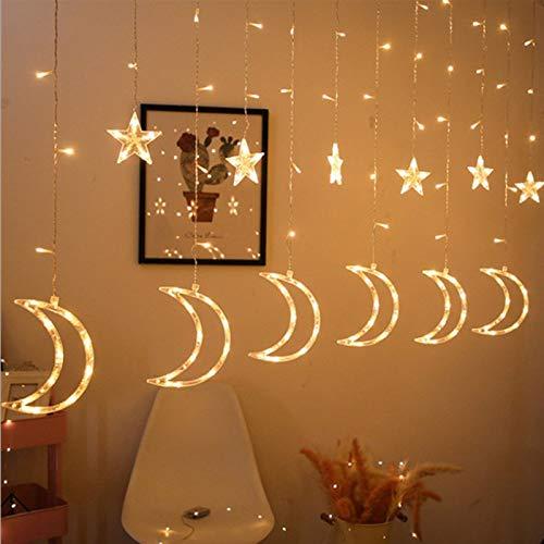 Luces de hadas, luces de cortina de la luna de la luna estrella, adornos de boda de guirnalda para Ramadán, Ramadán musulmán, bodas, fiesta (350x80 cm, solo contienen linterna decorativa)