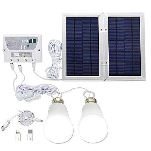 YINGHAO - Sistema de luz solar para móvil (6 W, plegable, 3,7 V, batería de litio de 6 W, panel solar, kit de sistema para el hogar, incluye cargador para teléfono móvil de 3 celdas, 2 luces LED