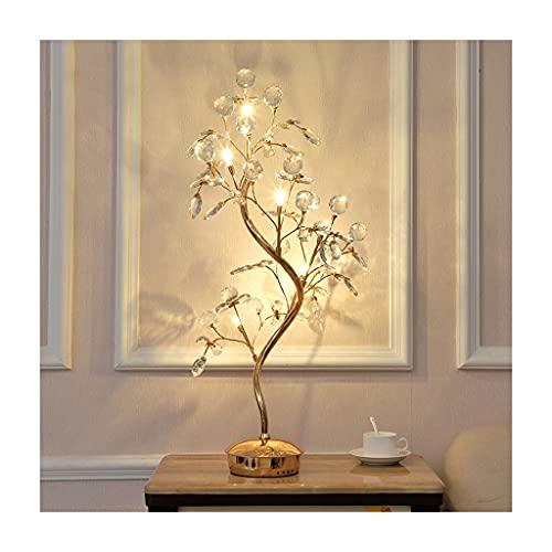 KGDC Lampara Mesilla Lámpara de Mesa de Noche de decoración de Cristal de Noche lámpara de Mesa Moderna Sala de café Dormitorio de la Mesa de Hierro Creativo lámpara de Mesa (Dorado) Lámpara de Mesa